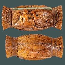 Antique 1790 mythological scene Leda & Swan Coquilla nut snuff box French carved Treen