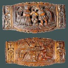 Unique & Rare Antique c.1790 Wedding present Coquilla nut snuff box French Treen