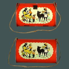 "Tiny size 7.7 "" four Fairytales BOTANICA BASKET box German lithograph tin 1920"