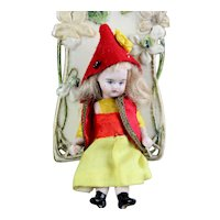 """LOVELY FRENCH in original clothing Lilliputian Mignonette tiny doll all - bisque doll 3.15 """""""
