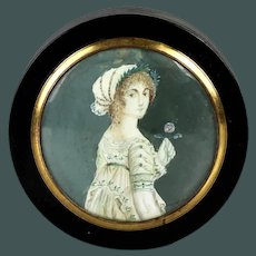 Quality Antique miniature portrait painting late 18th century French snuff box hand painted
