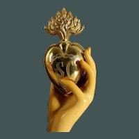 "5.8 ""Huge & Impressive Antique French LOCKET Ex Voto Sacred Heart Jesus 19th Century"