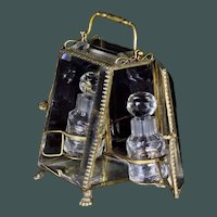 French 19th century large beveled crystal / glass ormolu perfume box Baccarat scent bottle display case jewelry box
