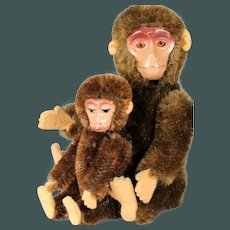 2 Very old & Miniature 3.5+5 inch Schuco yes/no mohair & tin plate monkeys Doll Size