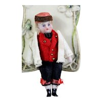 """FRENCH in original clothing Lilliputian  Mignonette small doll all - bisque doll 2.5 """""""