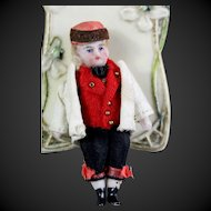 FRENCH in original clothing Lilliputian  Mignonette small doll all - bisque doll 2.5 ""