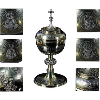 Amazing antique huge 1.3kg solid Silver & gold plated Neo Gothic Ciborium German J.C. Osthues