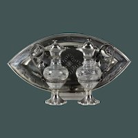 Antique 19th century French silver communion Cruet set water & wine with tray and box