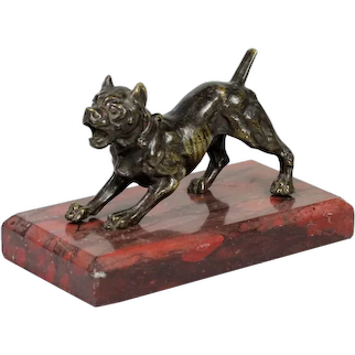 Antique 19th century French Bronze Sculpture of Guard Dog Mounted on a Red Rouge Marble Paperweight