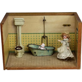 """Unusual fine and Small 16"""" Antique French doll house Bathroom box room & furniture German"""