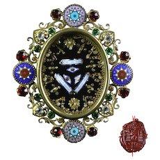 Antique large Century Paperolle Catholic Gilded Jeweled Reliquary Box