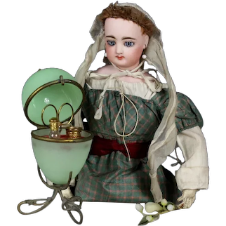 Antique Palais Royal French green opaline glass egg sewing etui & perfume bottle French fashion doll Huret Easter egg