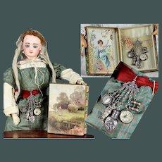 "Fantastic antique 2.75 miniature ""Grand tour"" silver travel Chatelaine in presentation box French fashion doll Poupèe"