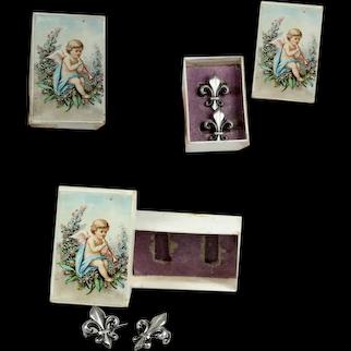 "Pair French antique doll sized 0.6 "" Fleur de Lis fashion 2 brooch / pin in Antique box"