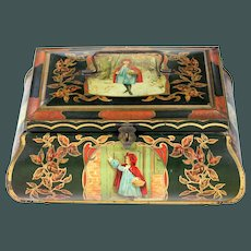 """RARE antique Art Nouveau Huge 12.5"""" Little Red Riding Hood Lithographed litho Biscuit Tin box 1890 - 1910"""