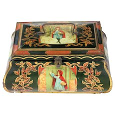 "RARE antique Art Nouveau Huge 12.5"" Little Red Riding Hood Lithographed litho Biscuit Tin box 1890 - 1910"