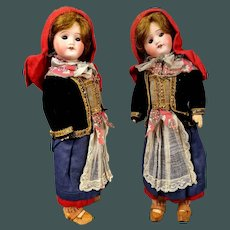 """All original antique 12.5 """"French bisque doll SFBJ 60 in French provincial fashion wear"""