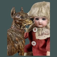 """Antique 5.5"""" Great Dane hunter dog cold painted Vienna bronze, display by Mignonette doll"""