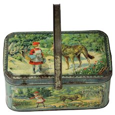RARE!! French antique Little Red Riding Hood Lithographed Biscuit Tin candy container lunch pail 1910