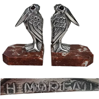 Art Deco Excellently styled 1920's silver H. MOREAU France Marabou Stork bookends
