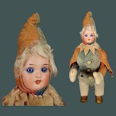 "Unusual 11.8"" Antique Original Mechanical Wind Up Clown Jester Bisque Doll Head"