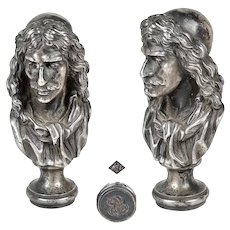 amazing 19th century French seal stamp wax seal philosopher René Descartes silver on bronze marked