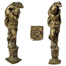 Amazing Antique French 19th century wax seal stamp Greek god Hades & mythical dog Kerberos
