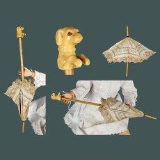 """Wonderful ANTIQUE 14.2"""" French Bebe Jumeau fashion doll parasol"""