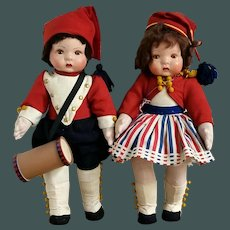 """Impressive French Pair 1930 All Original 16.5 """" dolls in French Revolution costumes, cloth jointed body, papier mache head"""