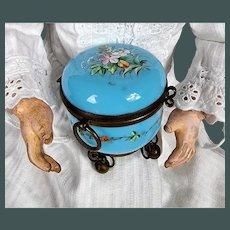 Miniature Blue opaline glass dresser jar trinket box by fashion doll Huret