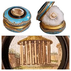"Museum Quality c.1860 Miniature box 2.4"" Antique Italian Grand Tour Souvenir, Enamel Roman Micromosaic powder jar & Puff - trinket"
