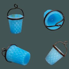 """Antiques Miniature 3"""" Doll accessory Marked: BACCARAT French Blue Opaline Glass Palais Royal Ice Bucket or Flower Basket."""