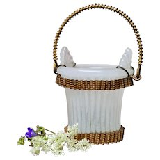 """Antique Miniature"""" French Doll accessory white Opaline Glass & Dore Palais Royal Baccarat champagne cooler / flower basket."""