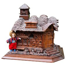 Masterfully antique 1909 Black Forest wood box, hand carved walnut cottage house with a pigeon loft