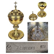 antique huge 1.3kg solid Silver & gold plated Neo Gothic Ciborium Germany J.C. Osthues