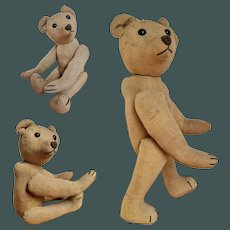 """antique c. 1900 small 11.5"""" character French antique Jointed bear shoe button eyes"""