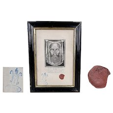 Small size Antique 1888 VERONICA'S veil holy face Jesus RELIGHT RELIQUARY with certificate and wax seals