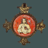 Very rare antique 19th century French polychrome Lithographed tin Jesus with Sacred flame Heart plaque ex voto