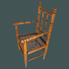 """Beautiful antique French small 16"""" faux-bamboo arm chair for antique bisque doll"""