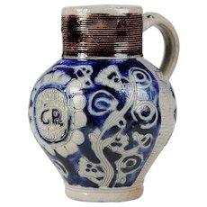 early 18th century Salt Glazed Stoneware Tankard Westerwald Germany Georg Rex I King of England