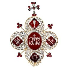 Unique & Antique 19th Century French Dore Jeweled Ruby red rhinestones crystal IHS shade Ex Voto ornament