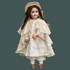 """HUGE 27"""" SFBJ Bebe Jumeau bisque ANTIQUE French doll in All Antique Costume & Shoes"""
