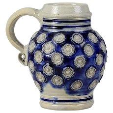 Antique 1700 German stoneware beer tankard Westerwald