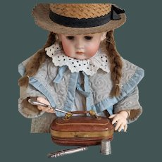"""Unusual tiny 3.6"""" Antique travel Leather Necessaire kit Purse Bag kit display by a Huret Bru Jumeau Bebe"""