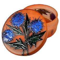 ART DECO French art glass round glass lidded box / powder jar enamel floral design signed: LEUNE Paul Daum