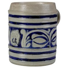 Huge beer tankard German Westerwald ca. 1720 stoneware jug