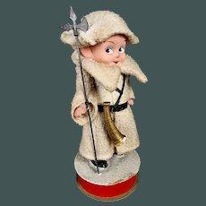 """Original antique 9"""" German papier mache candy container Christmas soldier, help Santa Claus"""