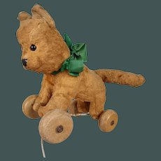 """Antique Tiny 6.7"""" French Pull Toy on wheels Cat with Glass Button Eyes Steiff Related"""