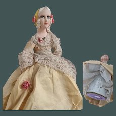 """Unusual 11"""" circa 1925 French candy container romantic boudoir doll"""