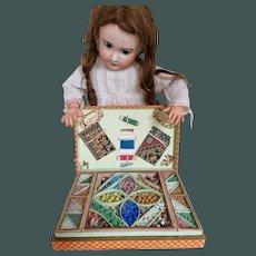 Antique RARE French, Parisian large Bead work sewing presentation box unused -1900